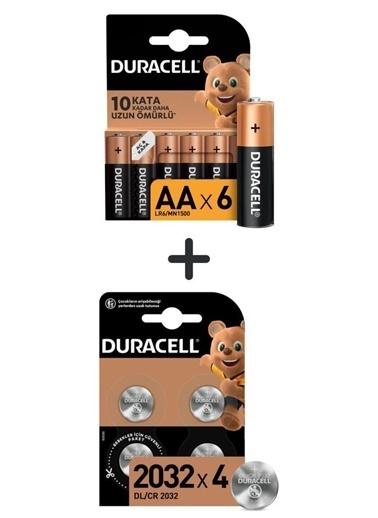 Duracell Duracell Dayanıklı 4'Li Paket Özel 2032 3V Lityum Düğme Pil + Alkalin Aa 6'Lı Kalem Pil Renkli